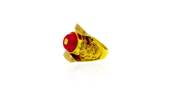 24K Gold Handmade Thake Design Men Ring