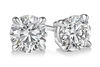 14K White Gold 1.50ctw round cut diamond studs with screw back