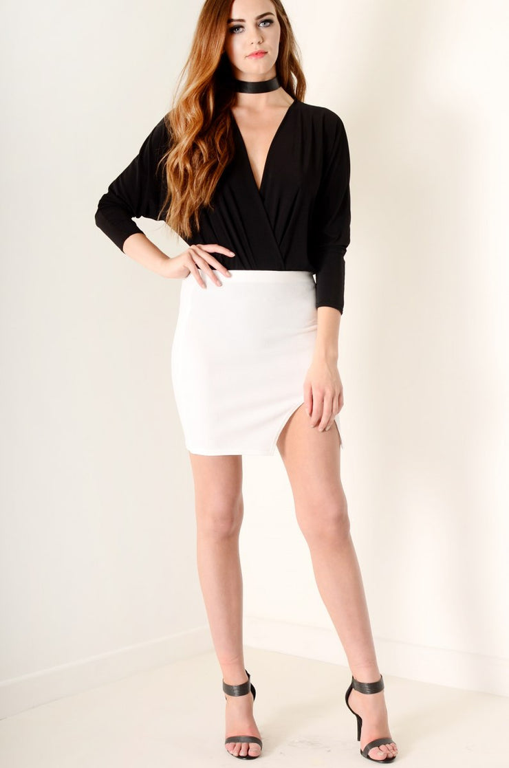 Bodycon wrap skirt White