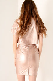 Metallic PU crop top Pink