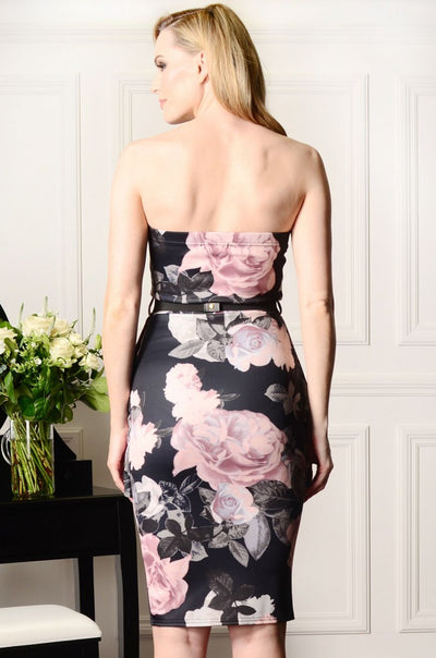 Floral Strapless Peplum Dress Black