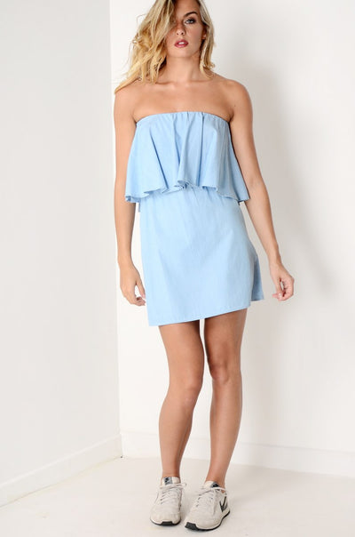 Oversized Ruffle Strapless Dress Blue