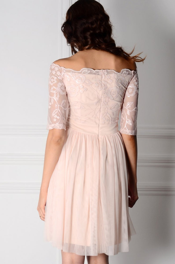 Nude Bardot Embroidery and Sequin Dress-10