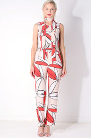 Graphic Print Jumpsuit with Matching Choker Scarf