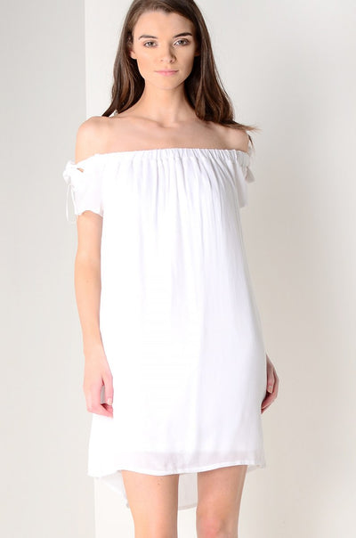 White Cheesecloth Bardot Dress With Ties