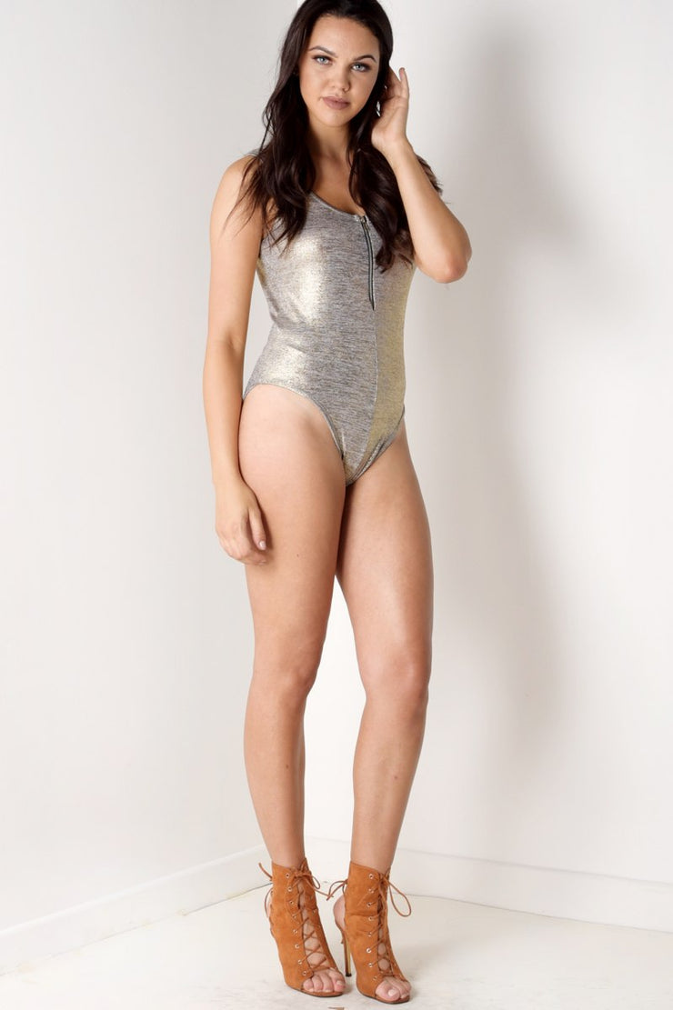 Gold Metallic Effect Zip Up Bodysuit