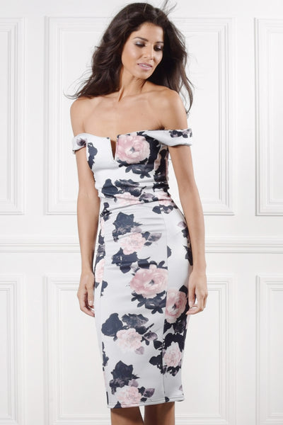 White Floral V Cut Bardot Midi Dress Grey