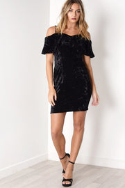 Crushed Velvet Double Strap Off The Shoulder Dress