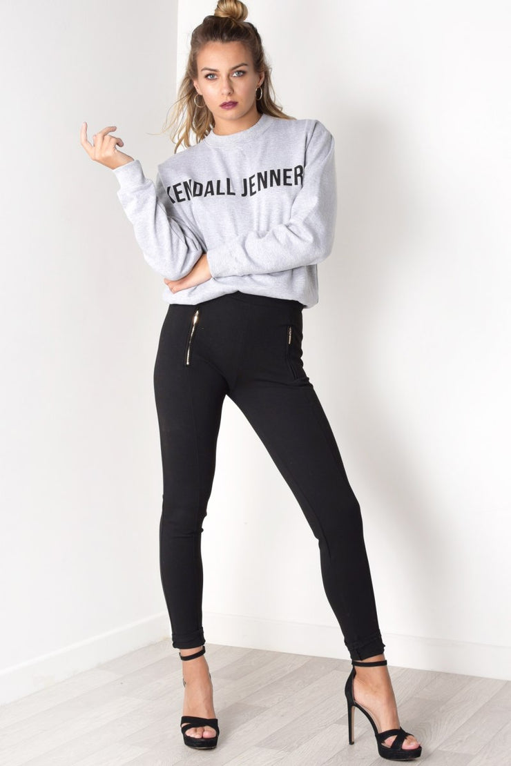 Kendall Jenner Slogan Graphic Print Jersey Jumper