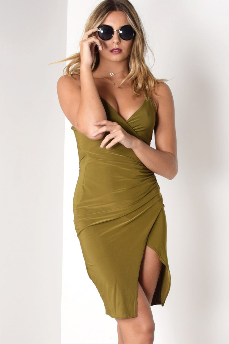 RUCHED SLINKY CAMI FRONT WRAP DRESS