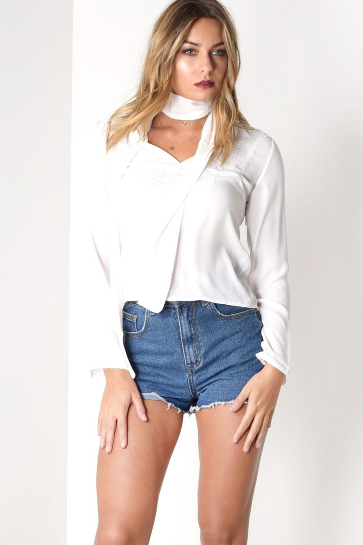 EMBROIDERED NECK TIE BLOUSE