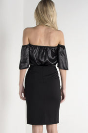 Satin Off The Shoulder Bardot Top
