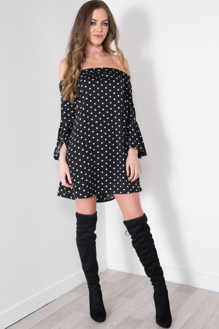 Polka Dot Bardot Flare Sleeve Dress