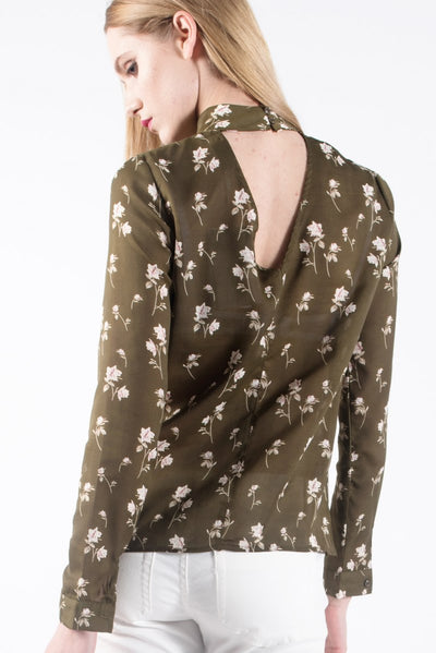 High Neck Blouse With Flower Print