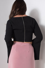 Cross Front Frill Sleeve Crop Top