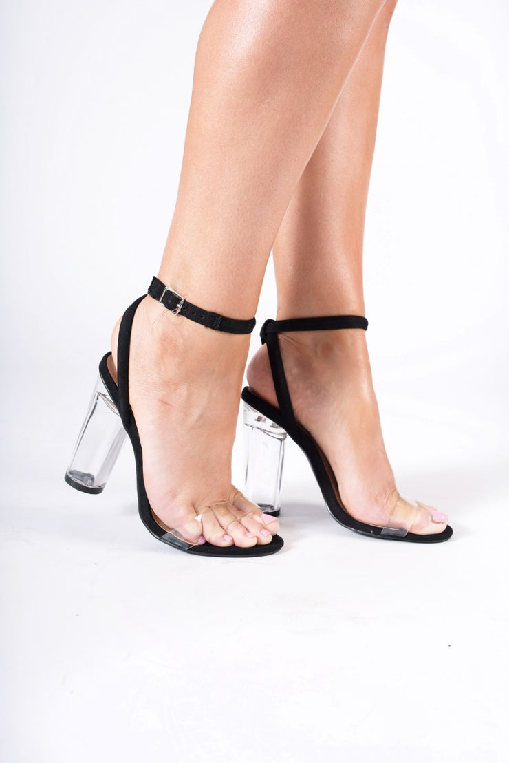 Perspex round high heels with ankle strap