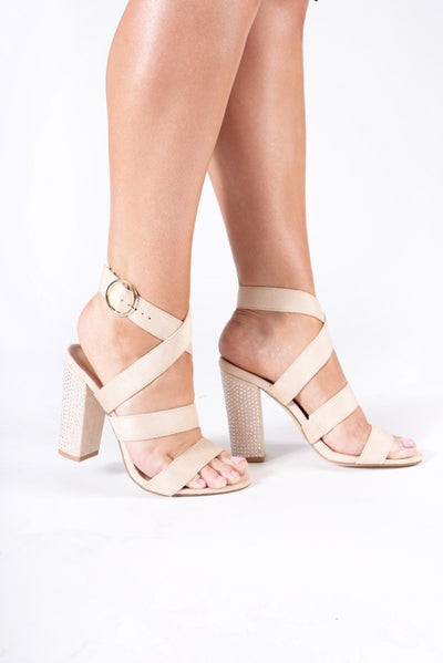 Suede Jewel Heel Sandals