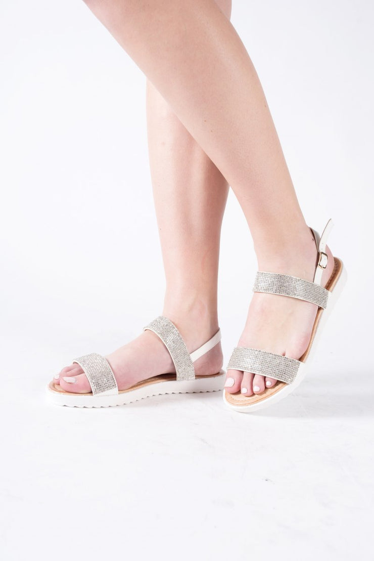 Diamante Flat Form Sandal in White