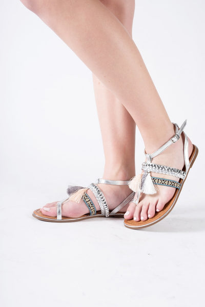 Embroidered Toe Post Flat Sandal