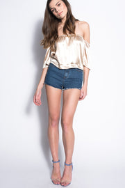 Gold Satin Off The Shoulder Bardot Top