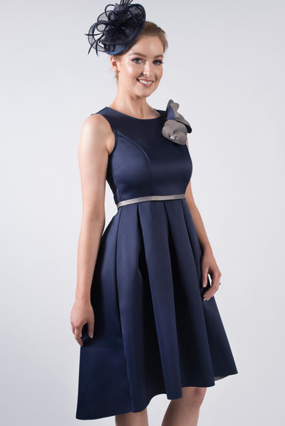 Navy High-Low Dress with Flower Appliqué