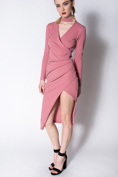 BLUSH CHOKER ASYMMETRIC WRAP BODYCON DRESS