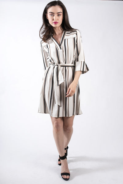Striped shirt dress in cream