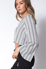 White And Grey Stripe Crepe V Neck Flared Sleeve Crop Top