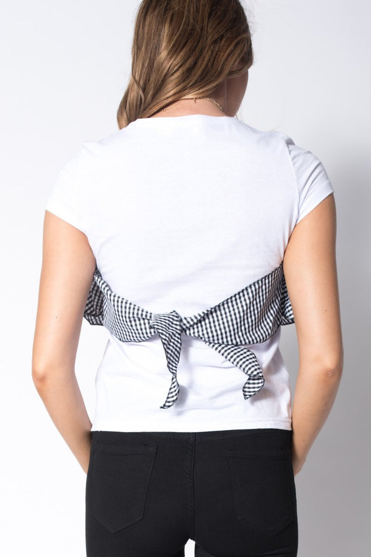 White Contrast Gingham Back Tie Up Tee
