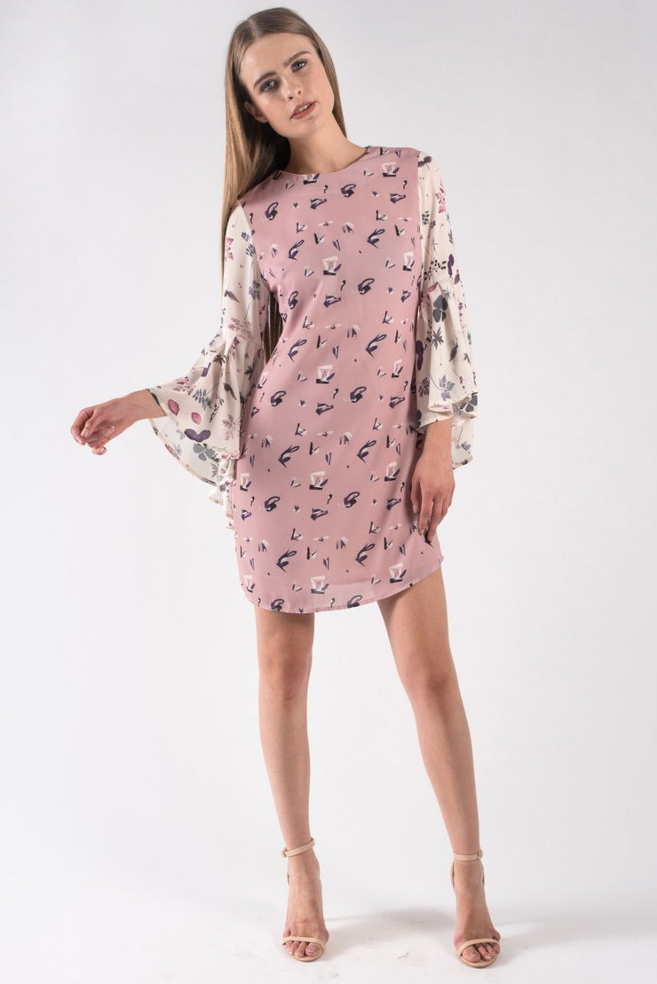 FLORAL BELL SLEEVED DRESS