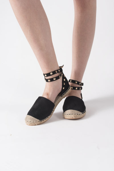 Studded Espadrilles with Ankle Strap in Black