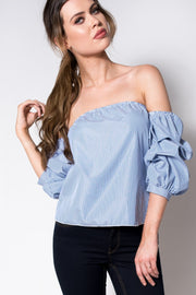 Bardot Pin Stripe Puff Sleeve Top