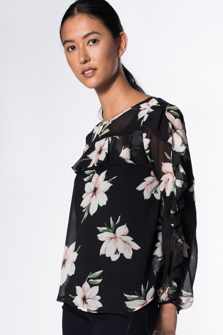 SHEER LONG SLEEVED TOP WITH FRILL