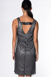 PLEATED SHIMMER DRESS IN BLACK