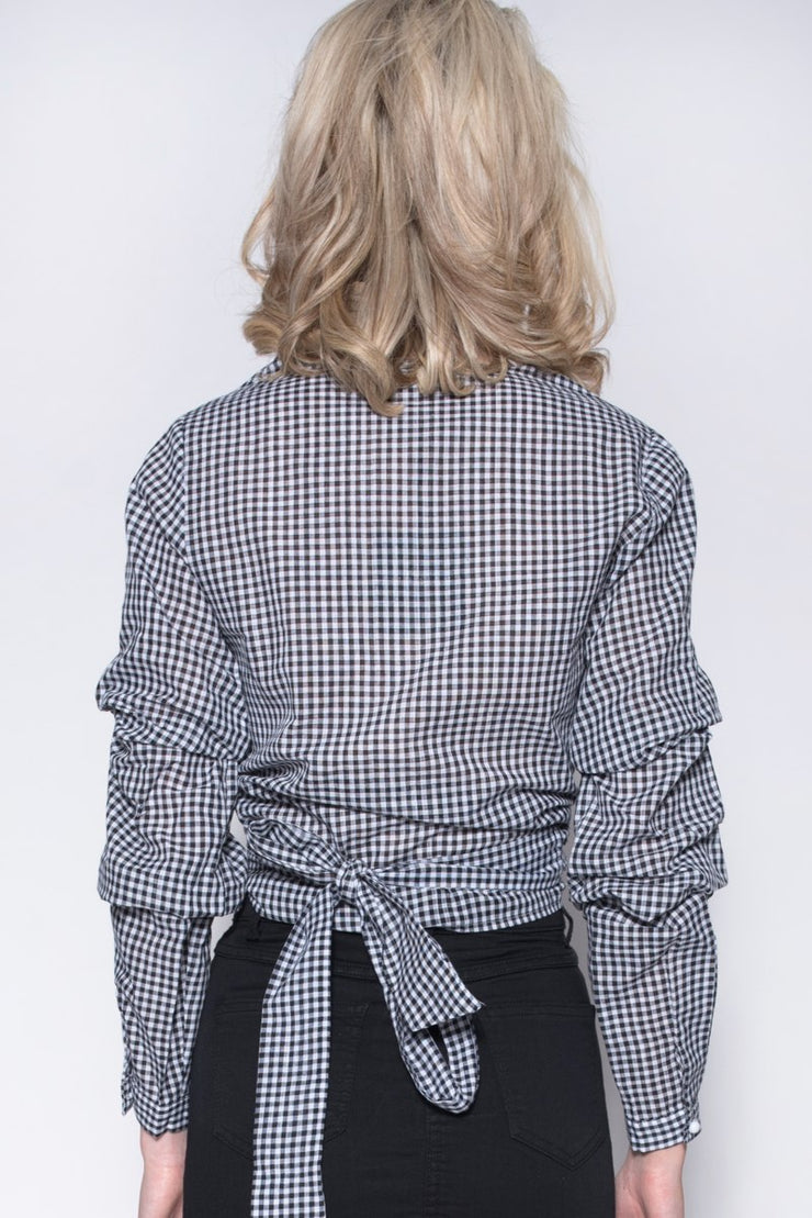 Gingham Wrap Over Detail Blouse