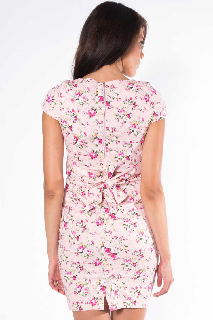 Pleated Pink Posies Dress
