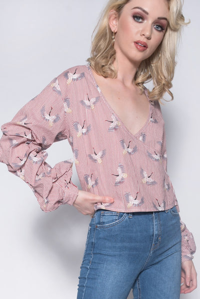 Red Stripe Bird Print Extreme Ruffle Sleeve Top