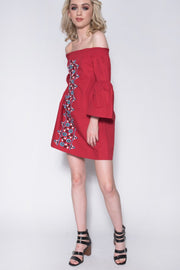 Red Embroidered Front Bardot Bell Sleeve Dress