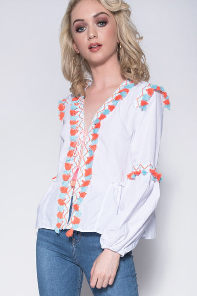 Pleated Front Tie Up Fringed Shirt