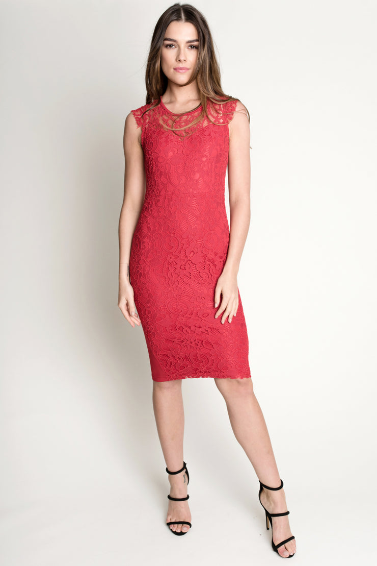 Red Lace Bodycon