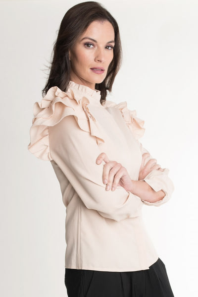 Cream Ruffle Shoulder Top