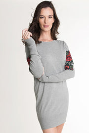 Embroidered Floral Knit Dress Grey