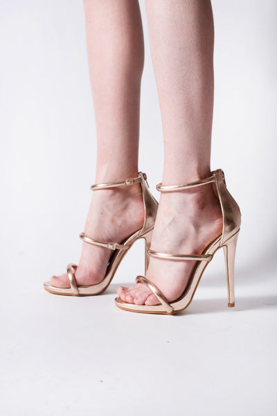 Rose Gold Double Strap Heels