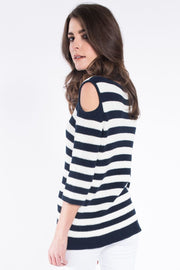 Cold shoulder striped jumper in navy