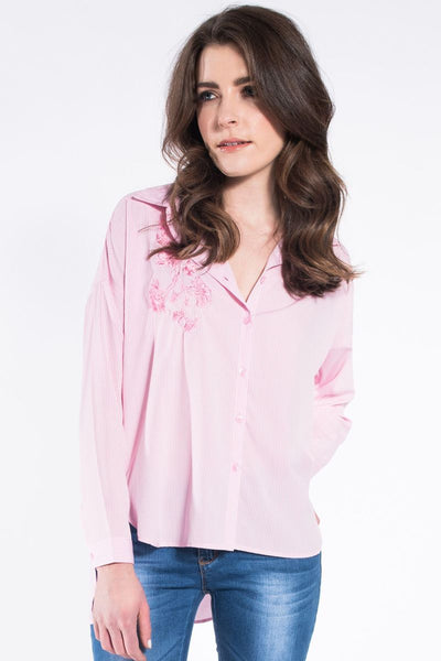 PINSTRIPE EMBROIDERED FLOWER SHIRT
