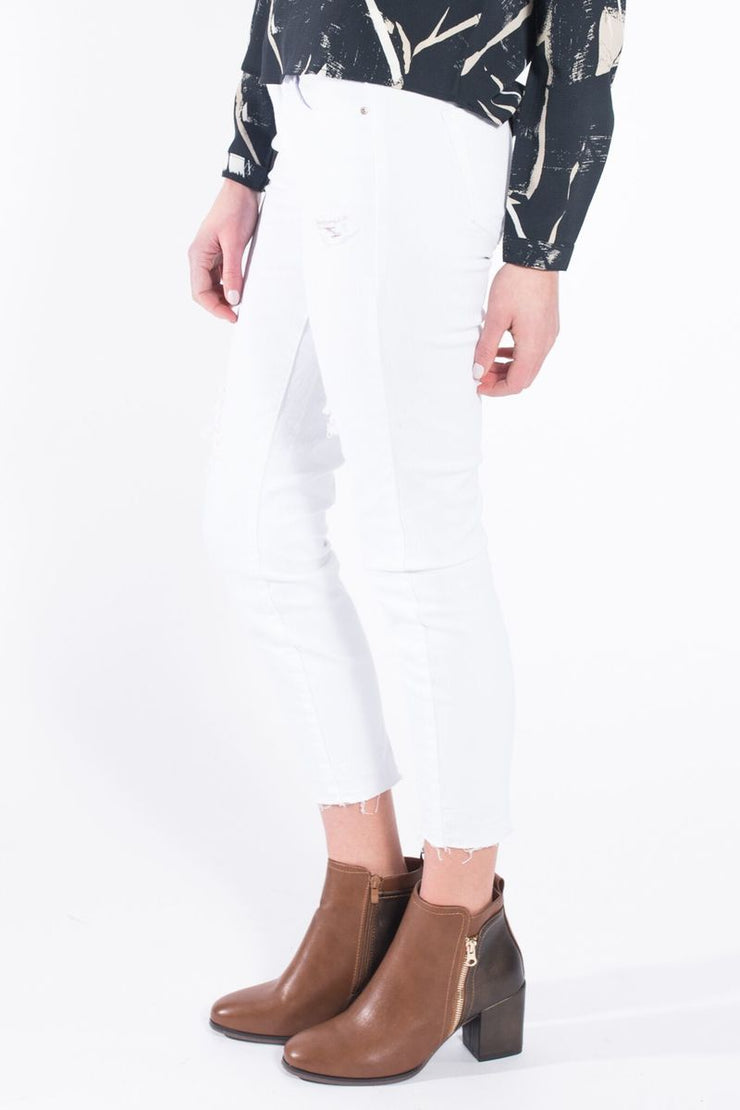 White Jeans with Raw Hem