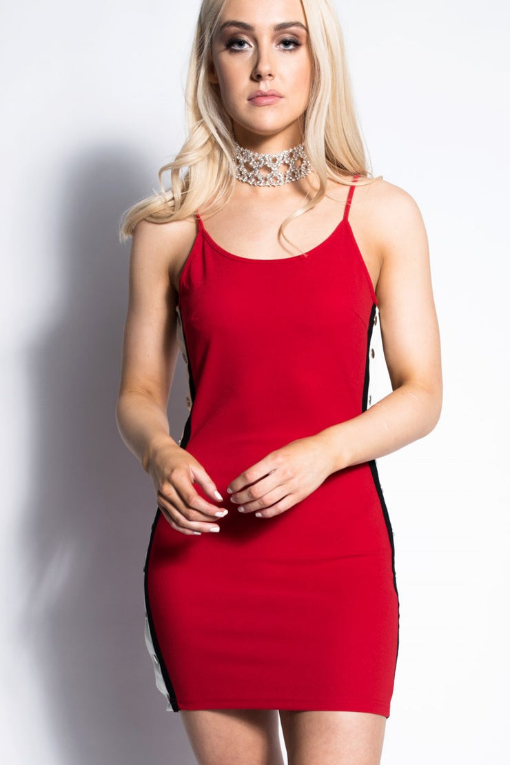 Red Side Stripe Bodycon Mini