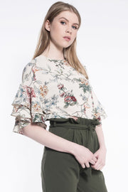 Floral Frill Blouse in Nude