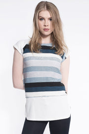 Stripe Print Cap Sleeve Top