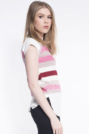 Stripe Print Cap Sleeve Top in Pink
